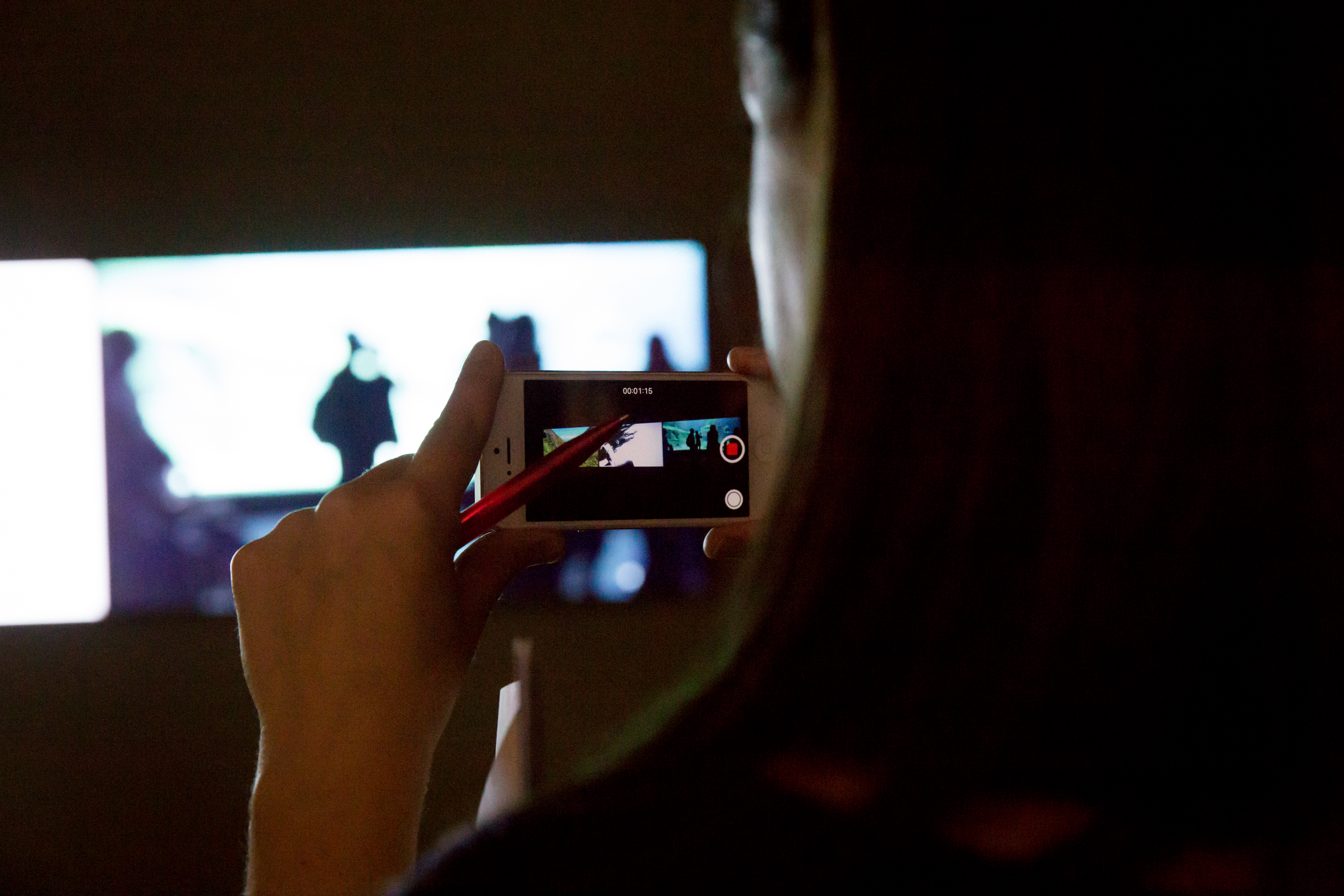 The picture shows a side view of a person who takes a picture of an artwork with her cell phone.