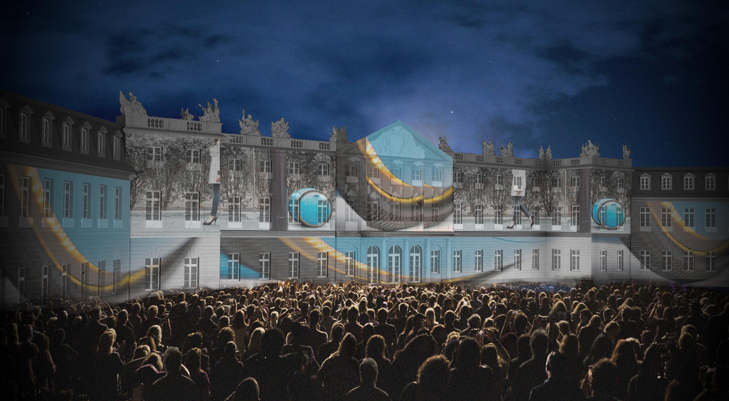 Blau/Graue Lichtprojektion auf Schloss vor Publikum