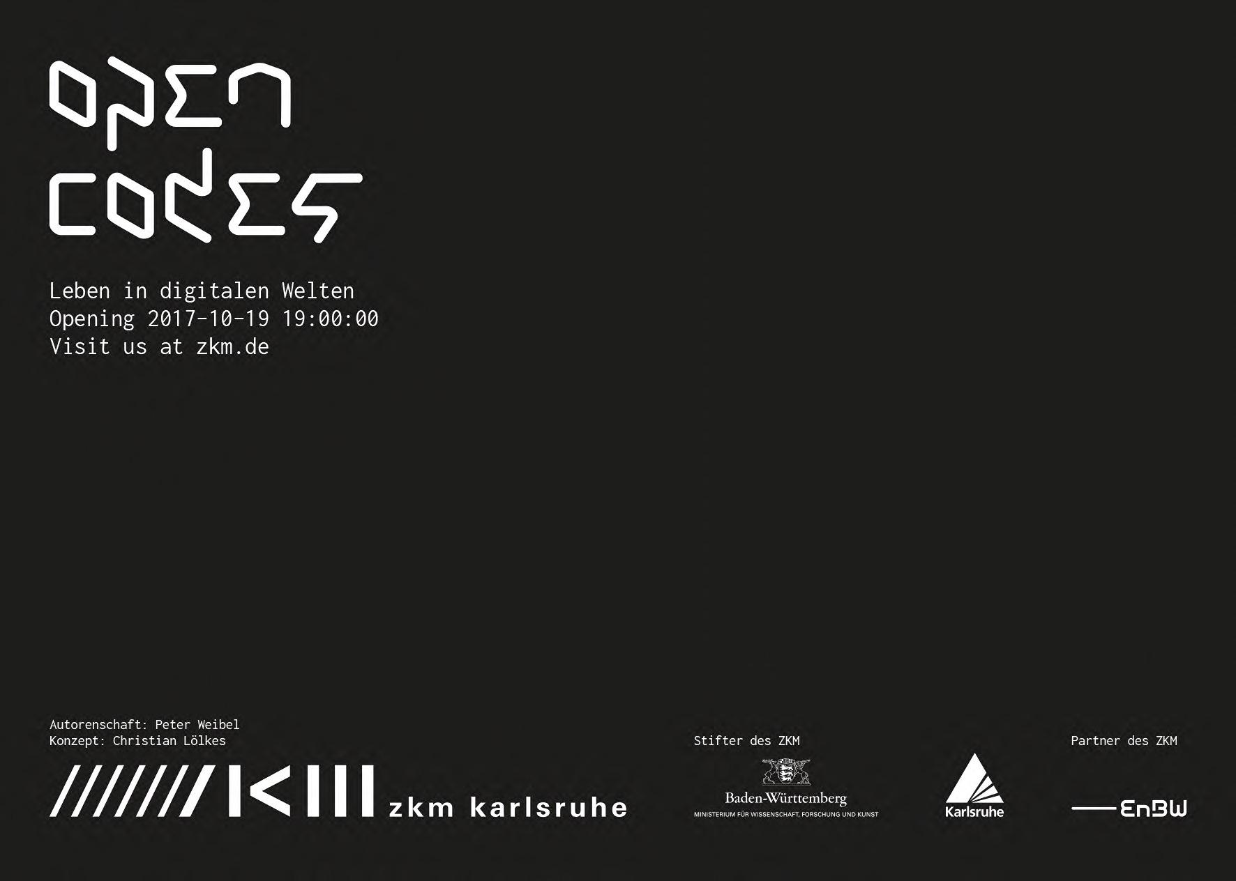 Weißer Schriftzug auf schwarzem Grund: Open Codes. Leben in digitalen Welten