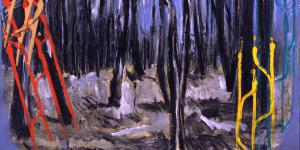 The painting depicts a bare forest in front of a violet night sky.