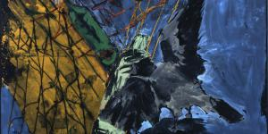 A darkly held abstract image shows a crow.
