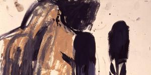 Abstrakte Zeichnung einer Rückenansicht eines nackten Mannes, rechts von ihm indianische Federn.