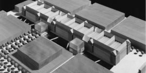 Modellentwurf des Hallenumbaus.