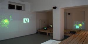 View of the exhibition space of the gallery K & S: In a space architecture made of pallets maps, pictures and films are projected.