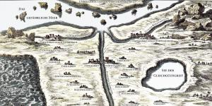 A colored map from 17th century. The names of the villages and waters are names of feelings.