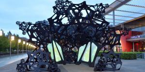 Großes abstraktes Gebilde in schwarz