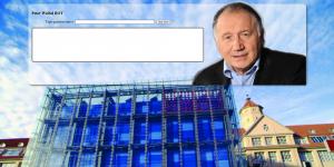 Links ein Text-Eingabefeld und rechts der Kopf von Peter Weibel