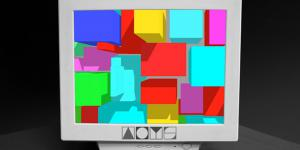 Old computer screen with colorful squares. At the bottom the logo of 'ArtOnYourScreen'.