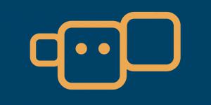 An orange square with eyes on a blue background. Right and left of it smaller squares