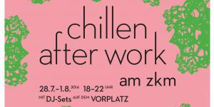 """Plakat zu """"Chillen after work"""" am ZKM. Schwarze Schrift auf lachsfarbenem Grund mit grün gemusterten Rändern."""