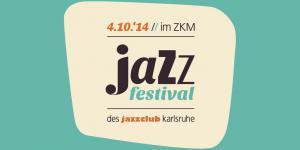 """Türkiser Hintergrund, darauf beige abgesetzt eine ovale Fläche, auf der """"Jazzfestival"""" steht"""