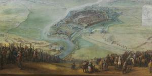 Militärische Belagerung einer Stadt. Gemälde aus dem 17. Jahrhundert.