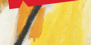 A painting, consisting out of orang, yellow and black stripes