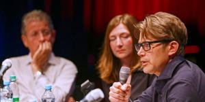 Rainer Guldin, Steffi Winkler and Nils Röller at the microphone