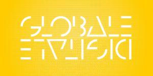 Ein gelber Hintergrund. In weißer Schrift GLOBALE und verkehrt herum DIGITALE