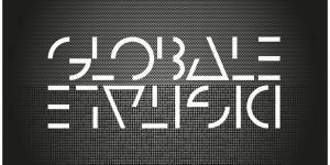 Weiße Schrift auf schwarzem Hintergrund: GLOBALE und auf dem Kopf DIGITALE