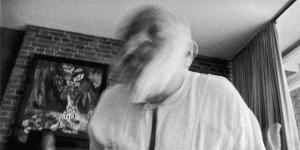 Black-and-white photograph of Vilém Flusser