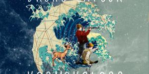 In space, there is a planet in form of a wave. Within the wave is a deer and two boys. One boy is looking through a telescope.