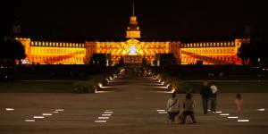 The Karlsruhe palace facade in gold