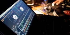 A laptop. A program for DJs is open