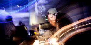 A DJ a the turn table
