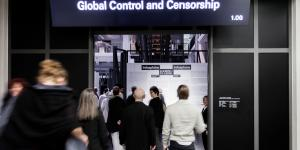 "People walking through a door. Above it you can read ""GLOBAL CONTROL AND CENSORSHIP"