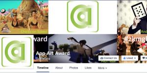 Das grüne AppArtAward Logo und weitere bunte Bilder