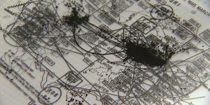 Ein Netzwerk aus Linien auf einer Karte