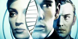 Two men, a woman and a DNA strand