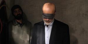 A man blindfolded