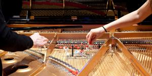 Between piano strings objects are inserted