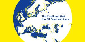 Yellow cover with blue, white and yellow globe. White and blue font.
