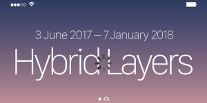 White lettering »Hybrid Layers« on a gradient from dark blue to pink