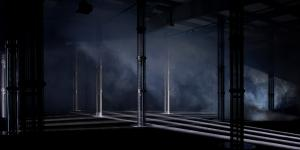 An empty room with columns