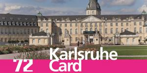 You can see the Castle of Karlsruhe with the lettering »72 Karlsruhe Card«
