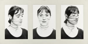 Three black portraits show a woman who has twined threads around her face.