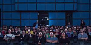 Audience at a 3D screening in the Media Lounge.