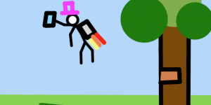 Stick man with a cylinder and a jetpack, that is flying away in the air.