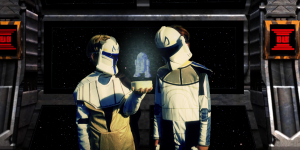 Two kids in disguise are standing next to each other and are wearing white roboter masks. Between them is a holographic image digitally added and the boys are looking at it.