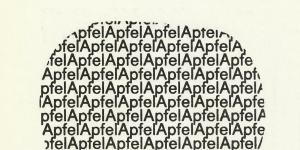 Das Wort »Apfel« ist mehrfach hintereinander und untereinander gereiht, sodass es die Form eines Apfels ergibt.