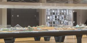 Frei Otto Ausstellungsansicht: Ein überlanger Tisch mit Modellen von Frei Otto