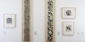 View of a white wall with six images, with abstract, black-and-white patterns.