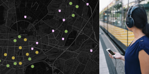 A woman with headphones and mobile in front of a tram and next to it Screen-shot of the app «My City, My Sounds«: citymap with symbols