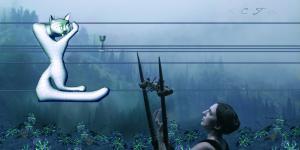 Eine Frau mit Lyra vor einer blauen, unscharfen Landschaft. Sie blickt auf eine Katze, die mit Hilfe eines CAD-Systems gezeichnet wurde.