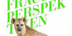 Schriftzug Frauenperspektiven und Logotier Hyäne.