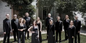 The photo shows the musicians of the KlangForum Heidelberg, all dressed in black, on a green meadow.