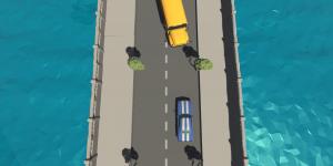 Die Graphik zeigt zwei aufeinanderzufahrende Fahrzeuge auf einer Brücke