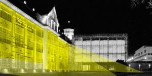 Skizze der beleuchteten ZKM-Fassade.