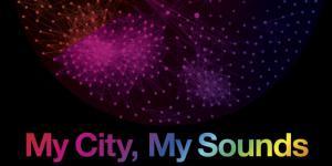 Plakat des Projekts »My City, My Sounds«: bunte Punkte und Schrift auf schwarzem Grund