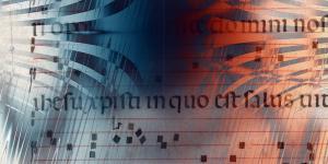 Quadratnotation eines Gregorianischen Chorals, mit Text, nachträglich rot und blau verfärbt